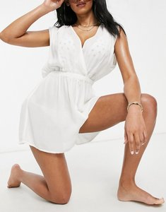 Read more about Asos design fuller bust crinkle gathered plunge beach playsuit in white