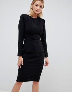Read more about Asos design fuller bust shoulder pad midi dress with seams-black
