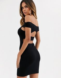 Read more about Asos design going out bardot cut out back detail mini dress in black