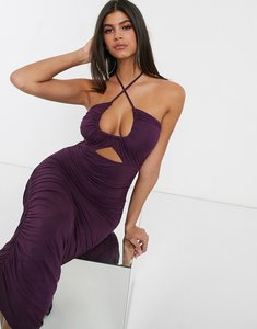 Read more about Asos design going out ruched midi dress with cut out-purple