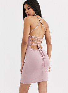 Read more about Asos design going out strappy back mini dress in tan-beige