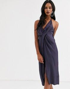 Read more about Asos design halter neck drape waist midi dress in satin-navy