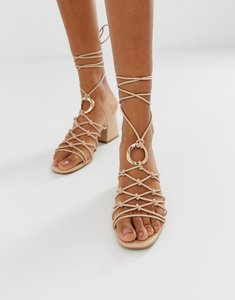 Read more about Asos design harvey knotted ring detail sandals-neutral