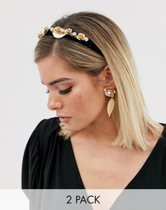 Read more about Asos design headband with gold floral embellishment and leaf drop pearl earrings in gold tone-multi