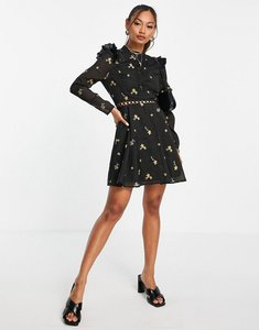 Read more about Asos design high neck all over embroidered skater mini dress with lace inserts in black