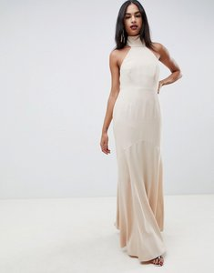 Read more about Asos design high neck maxi dress in crepe-beige