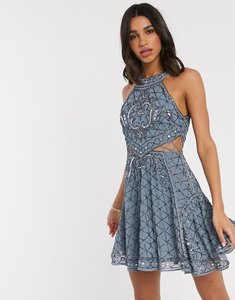 Read more about Asos design high neck mini dress with cut outs and godets in embellishment-blue