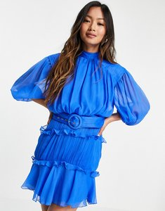 Read more about Asos design high neck mini dress with ruffle detail and belt-multi