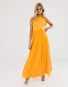 Read more about Asos design high neck pleated maxi dress with ruffle detail-yellow