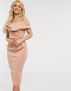 Read more about Asos design hourglass drape fallen shoulder midi pencil dress in camel-neutral
