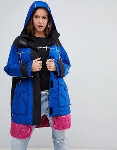 Read more about Asos design hybrid parka with quilted liner-blue