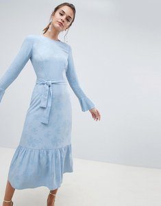 Read more about Asos design jacquard pephem maxi dress with belt-blue