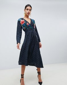 Read more about Asos design jacquard wrap midi dress with long sleeves and embroidery-black