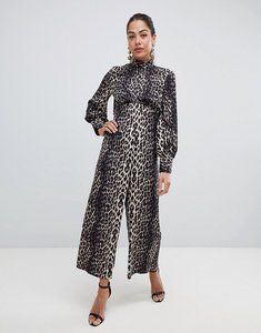 Read more about Asos design jumpsuit with high neck and blouson sleeve in animal print-multi