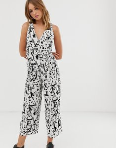 Read more about Asos design jumpsuit with tie back detail in mono abstract print-multi