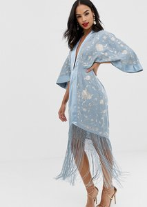 Read more about Asos design kimono embroidered midi dress with fringe hem-beige