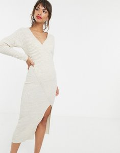 Read more about Asos design knit rib midi dress with wrap detail-neutral