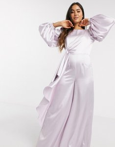 Read more about Asos design knot drape satin jumpsuit with wide leg in lilac-purple