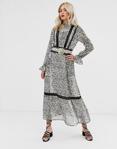 Read more about Asos design lace insert maxi dress with buckle belt in leopard print-multi