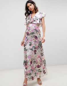 Read more about Asos design lace insert ruffle maxi dress in pretty floral print-multi