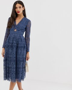 Read more about Asos design lace long sleeve prom dress with cut out-blue