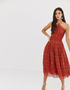 Read more about Asos design lace midi dress with pinny bodice-red