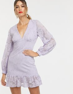 Read more about Asos design lace mini dress with ruffle pep hem-purple