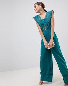 Read more about Asos design lace top jumpsuit with wide leg-blue