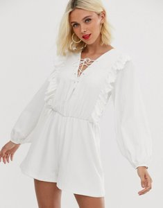 Read more about Asos design lace up playsuit with ruffle detail-white
