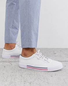 Read more about Asos design lace up plimsolls in white with navy and red detailing