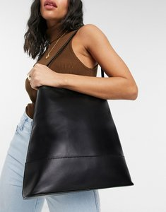 Read more about Asos design leather clean structured tote bag in black