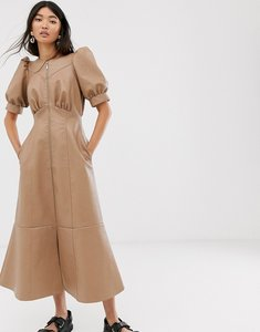 Read more about Asos design leather look puff sleeve zip through midi dress in stone-neutral
