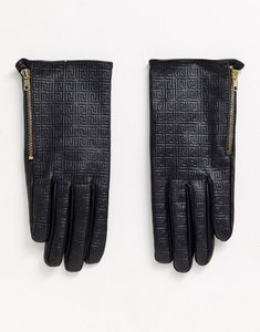 Read more about Asos design leather monogram gloves with touch screen-black