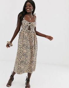 Read more about Asos design leopard print midi cut out button front sundress with matching scrunchie-multi