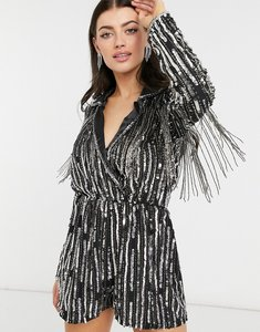Read more about Asos design linear sequin tux playsuit in black