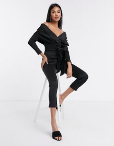 Read more about Asos design long sleeve bardot scuba jumpsuit in black