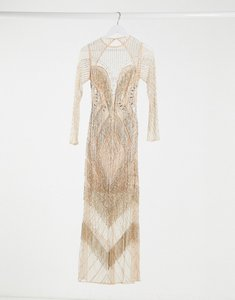 Read more about Asos design long sleeve fringe embellished maxi dress with open back in pink