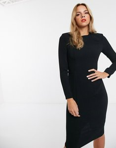Read more about Asos design long sleeve midi dress with seams-black