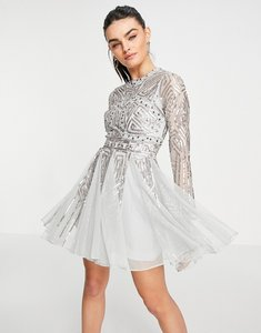 Read more about Asos design long sleeve mini dress with gem and sequin embellishment in sage-green