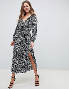 Read more about Asos design long sleeve mono animal plisse wrap maxi dress with belt-multi