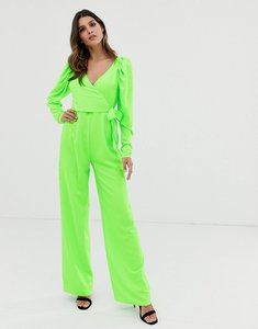 Read more about Asos design long sleeve plunge wrap jumpsuit with ruched sleeve-green