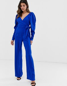 Read more about Asos design long sleeve plunge wrap jumpsuit with ruched sleeve-blue
