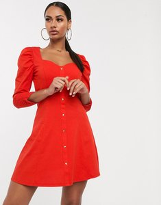 Read more about Asos design long sleeve puff sleeve popper front tea dress in red