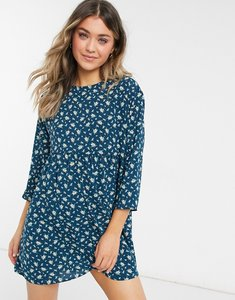 Read more about Asos design long sleeve smock mini dress in floral dot-multi