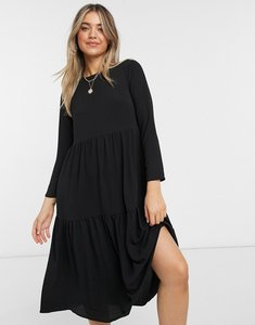 Read more about Asos design long sleeve tiered smock midi dress in black