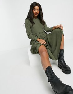 Read more about Asos design long sleeve tiered smock midi dress in khaki-green
