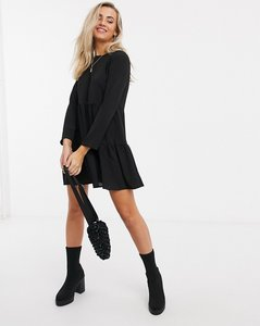 Read more about Asos design long sleeve tiered smock mini dress in black