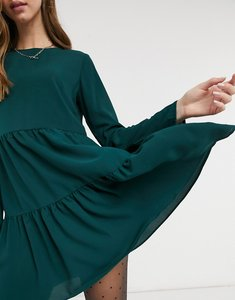 Read more about Asos design long sleeve tiered smock mini dress in green