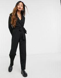 Read more about Asos design long sleeve tux crepe jumpsuit in black