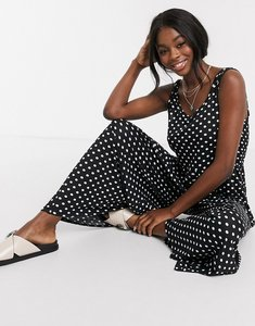 Read more about Asos design lounge scoop neck smock jumpsuit in mono spot print-multi